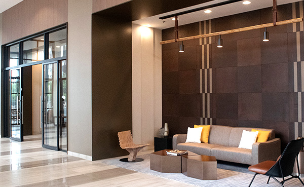 Leather Wall Lobby Installation